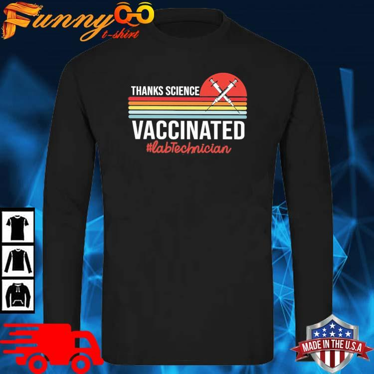 Thanks science vaccinated #Labtechnician vintage sunset long sleve den